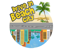 Drive in beach city game logo