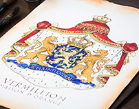 Custom Vermillion Coat of Arms Painting