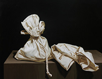 """""""Still life with two bags"""" 50×60 oil on canvas 2016"""
