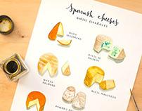 Spanish Cheeses | Watercolor food illustration
