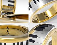 Anillo Piano 3D - Rhino + Keyshot