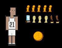 Tim Duncan, Spurs (Simple Illustration)