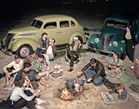 Evening Picnic at Huntington Beach, 1937.