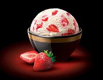 Strawberry ice cream for elite packaging design