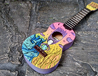 Ukulele design water fire