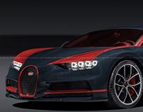 Bugatti Chiron Dark Blue Red