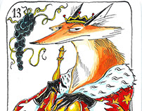 Briscola playing cards - swords and foxes