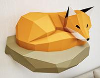 DIY Papercraft Fox. 3D sculpture template.