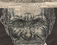 Bic biro drawing on a 1868 newspaper cover