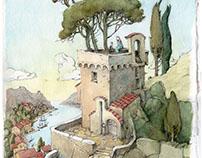 watercolors series «Torre Guinigi»