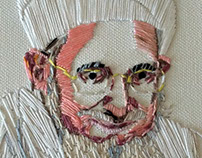 Embroidered Portrait on canvas