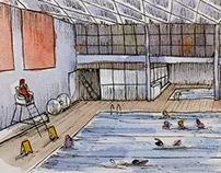 #Inktober 3 - pool watercolor