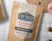 Top Shed: Labels for bags of roasted coffee