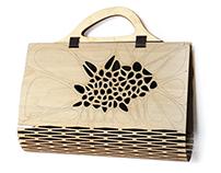 Fashionable women's plywood & silk handbag