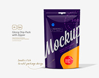 Glossy Doy-Pack with Zipper Mockup