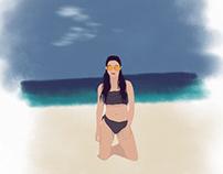 Ilustración mujer en la playa