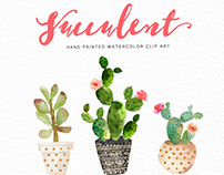 Watercolor succulent clip art collection