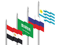 Egypt Saudi Arabia ,Russia Uruguay flags