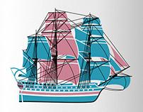 Корабельная тема этикетки. Ship theme wine package