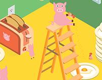 Isometric— Happy Piggies