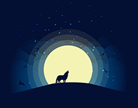 Wolf and Birds Over The Night Moon
