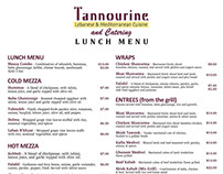 Tannourine Restaurant Menu & Flyers
