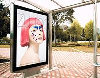 Free Outdoor Branding Bus Stop Billboard Mockup PSD