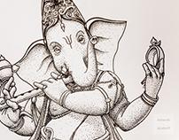 Ganesha dotwork mural