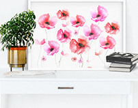 Poppies will put them to sleep Watercolor Print