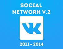 Social network design. Twitter, Facebook, Vk.com