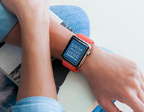 Woman Wearing an Apple Watch and Holding a Book Mockup