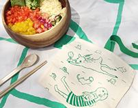 Lawnmap Cutlery Set Illustration