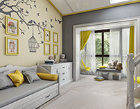 Detailed and masterly presented Childrens room design.