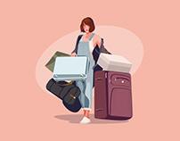 Woman Traveling Illustration