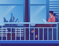 Reading A Book Illustration 02