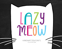 LAZY MEOW. Handwitten fonts+cliparts