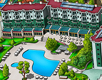 Phaselis Rose Hotel Info Map Illustration