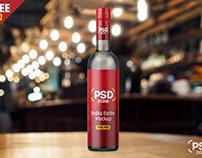 Vodka Bottle Mockup Free PSD