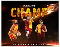 Basketball themed sports photography template