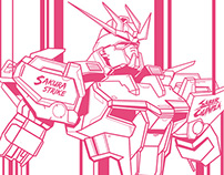 Line Art of Strike Rouge Gundam Custom