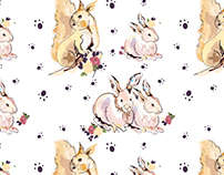 water colored woodland creatures pattern