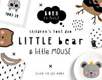 Little bear & little mouse - children duo font