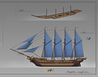 Barquentine. Concept Ship.