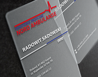 Transparent business card for Nord Ambulanse