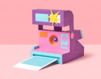 90s nostalgia. Paper craft and photography