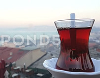 Turkish Tea And Istanbul Skyline Video clip