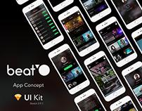 Beat'O UI Kit / Free Sketch Template