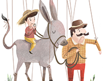 El hombre el niño y el burro