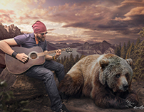 Musician and Bear Chilling