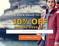 J.Crew 10% off Popup Banner